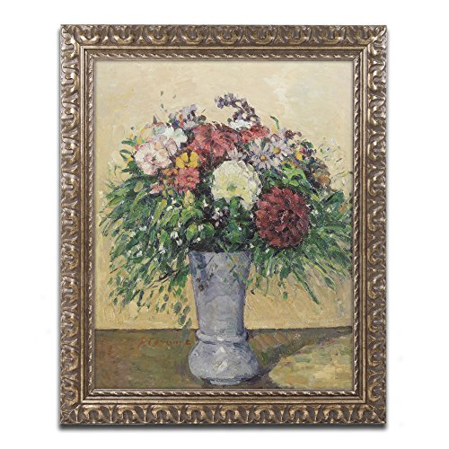 Bouquet of Flowers in a Vase Artwork by Paul Cezanne in Gold Ornate Frame, 16 x 20
