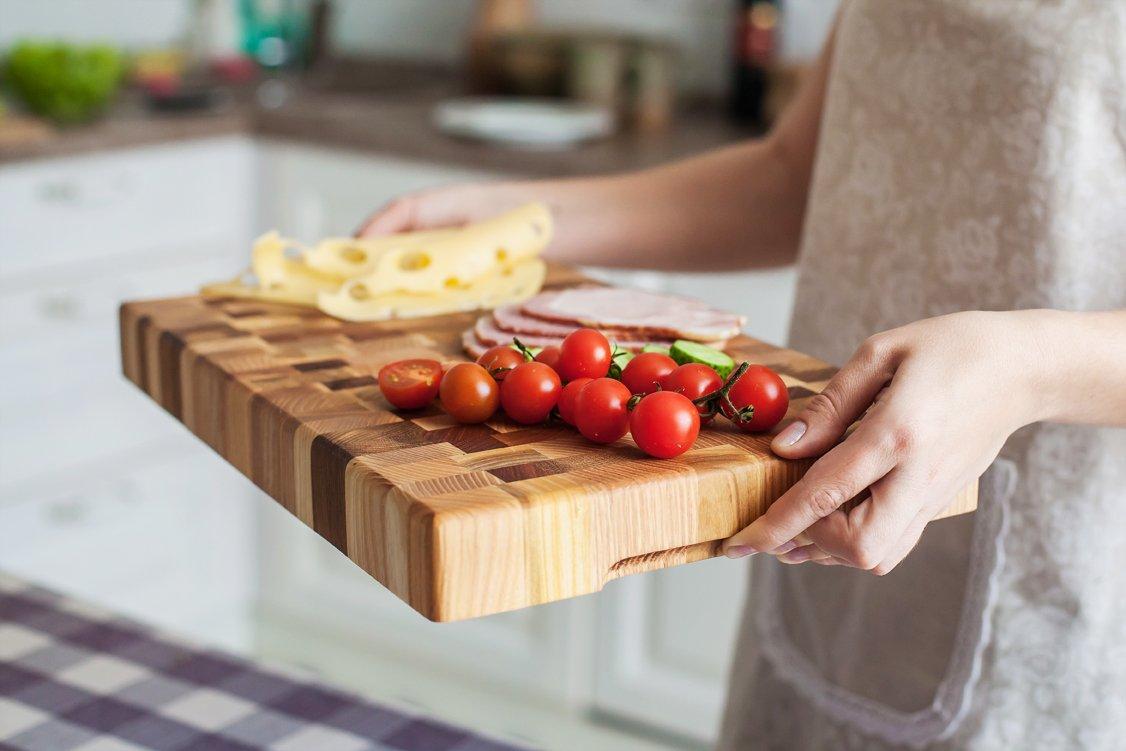 Cutting Board 16 x 10 x 1.6 inch End Grain Chopping Block Hardwood Extra Thick Wood: Cherry Oak Canadian Oak Ash-tree Walnut Beech Durable & Resistant by NaturalDesign