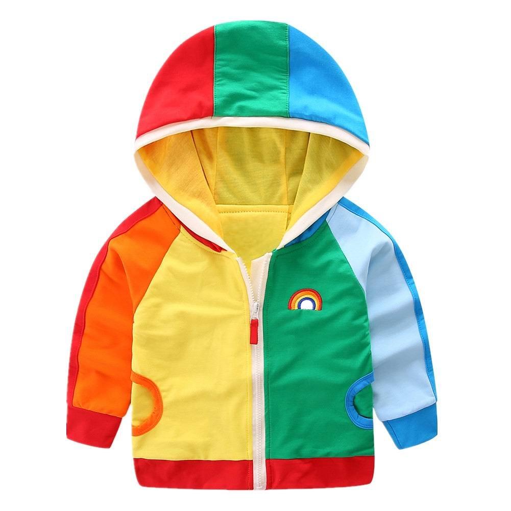 LittleSpring Kids Hooded Jacket Zipper Rainbow Long Sleeve 2-8 SLSS0222