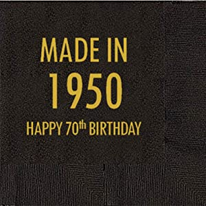 Mandeville Party Company, 50 count Black Cocktail/Beverage Napkins, Happy 70th Birthday - Made in 1950