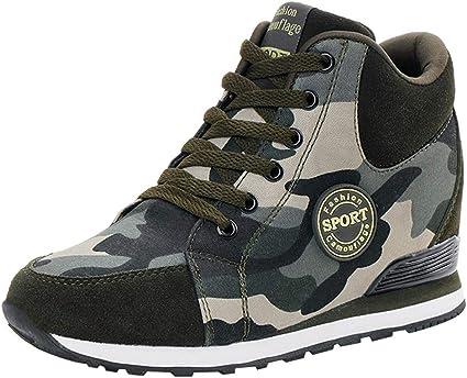 LuckyGirls Zapatos Lona de Correr para Mujer Camuflaje Casual Calzado de Deporte Planos Zapatillas Moda Bambas de Running Aumento Interno: Amazon.es: Deportes y aire libre