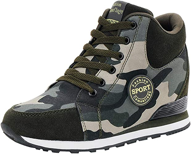 POLP Calzado Zapatos Mujer Cuña Deportivos Zapatillas Running para Mujer Aire Libre Deporte Transpirables Zapatos Gimnasio Correr Sneakers Verde Plataforma Casual ...