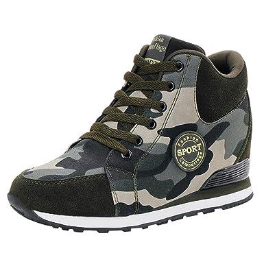 Naturazy Botas Adventurer para Mujer Al Aire Libre Lienzo Casual Zapatos De Camuflaje Suelas Gruesas con Cordones Zapatos Sneakers Calzado Deportivo, ...