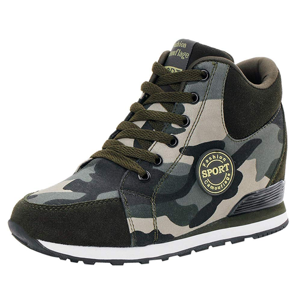Women Canvas Heightening Shoes Outdoor Casual Camouflage Thick-Soled Lace-Up Sneakers