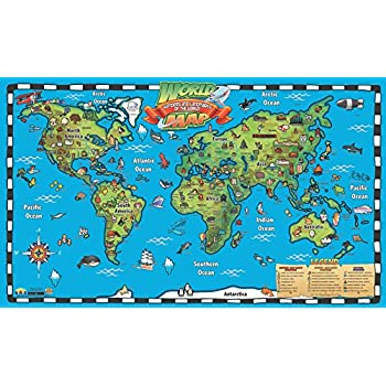 Amazoncom Popar Kids World Map Interactive Wall Chart With Free - Interactive map of world