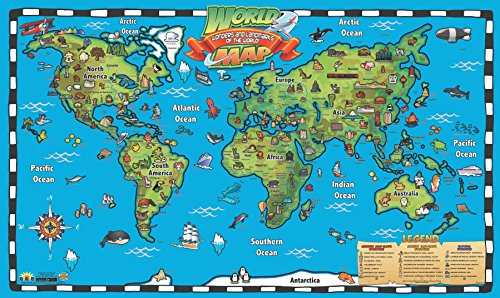 popar Kid's World Map Interactive Wall Chart with Free App ()