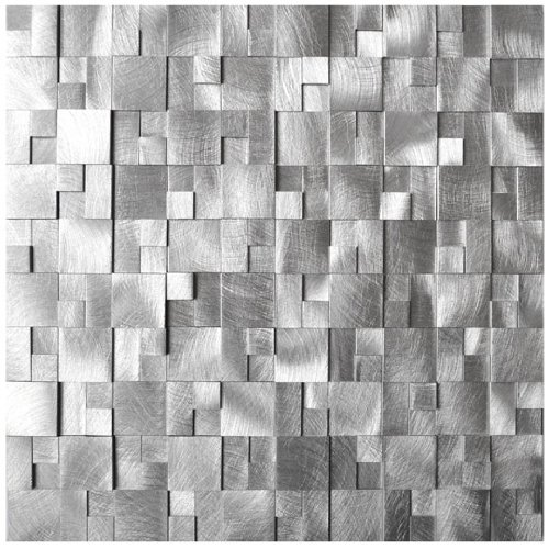 3D Raised Cobblestone Pattern Aluminum Mosaic Tile - Kitchen Backsplash / Bath Backsplash / Wall Decor / Fireplace Surround Stone Tile Fireplace