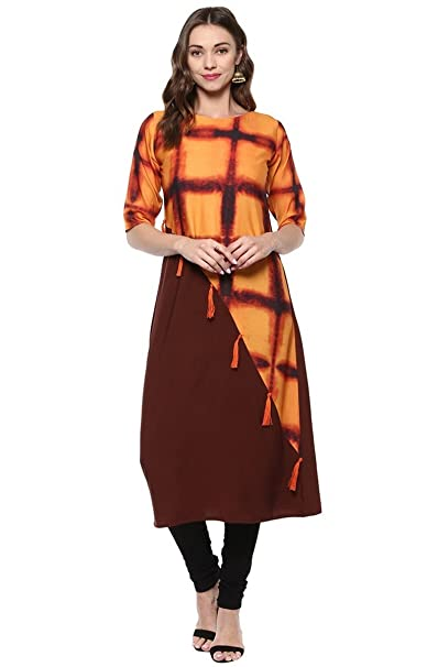 Janasya Women's Multicolor Printed Crepe A-Line Kurti Kurtas & Kurtis at amazon