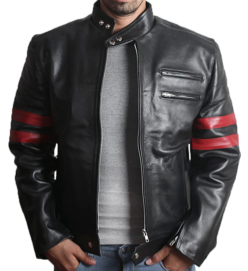 Fight Club Mayhem Leather Jacket - Candy Stripes retro-rd-st-p