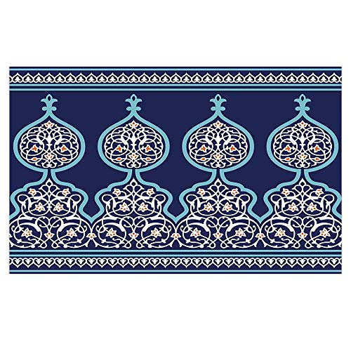 3D Floor/Wall Sticker Removable,Moroccan,Bohemian Style Ancient Middle Eastern Turkish Figures Mystical Image Print,Teal Royal Blue,for Living Room Bathroom Decoration,35.4x23.6