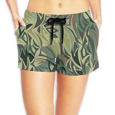 Usieis Camouflage Pattern Khaki Texture Surfing Pocket Elastic Waist Women's Beach Pants Shorts Beach Shorts Swim Trunks