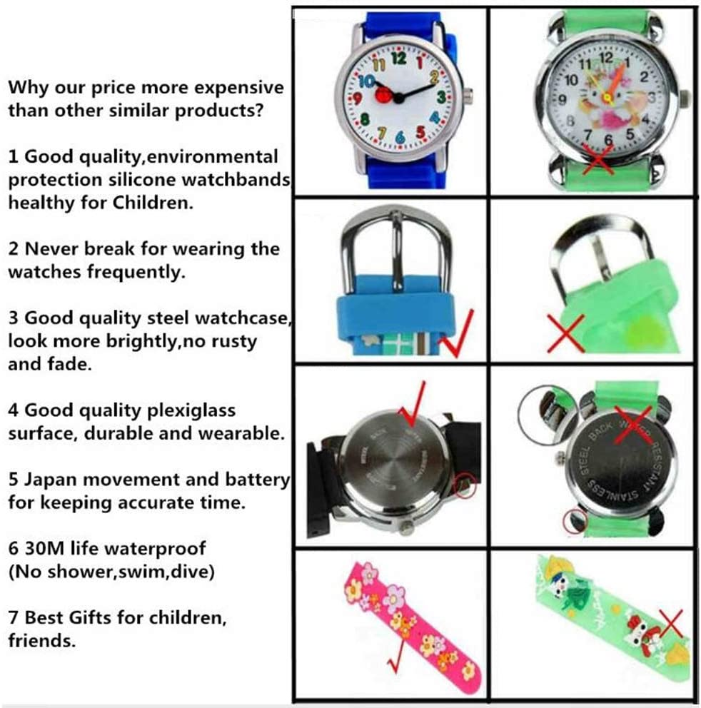 ZFLY-JJ Montres Enfants Montres Enfants 3D Montre Cartoon Mode Train Bleu Bracelet imperméable Enfants étudiants Montre Montre de Silicone garçons Bracelet,Bleu Blue
