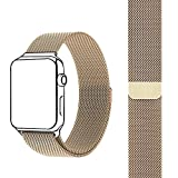 FARSIC Wrist Band for 38mm - Magnet Lock, No Buckle Needed, Soft, Smooth - Stainless Steel Link Bracelet Strap Replacement Wrist Band - Gold
