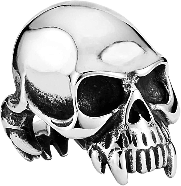 Amody Joyería Hombres anillosAnillos de Hombres góticos Esqueleto de Diente dominante Anillo de Acero Inoxidable para Hombre