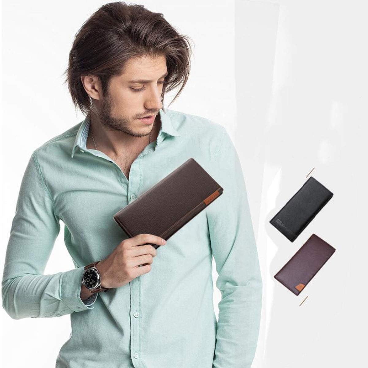 Color Brown Business Fashion Multi-Card Ultra-Thin Carrying Leather Wallet 18.5 1.5 9. Suitable for Mens Long cm Durable Color : B Brown, Size : 18.51.59 Aishanghuayi Wallet Size,