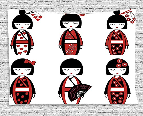 Girly Collection Unique Japanese Geisha Dolls in Folkloric Costumes Outfits and Hair Sticks Kimono Art Image Black Red Supersoft Throw Fleece Blanket (Geisha Costume Australia)