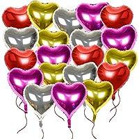20枚入 バルーン ハート アルミバルーン 46cm タッセルリボン付き 結婚式 誕生日 パーティー (ハート型 4色 20個)