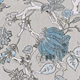 Oriental Tree of Life fabric - Azure  amp; Mid Blues and Pastel Blue shades with Ivory, Light Taupe