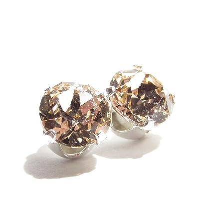 pewterhooter 925 Sterling Silver stud earrings handmade with Light Silk crystal from SWAROVSKI® for Women FhZYk