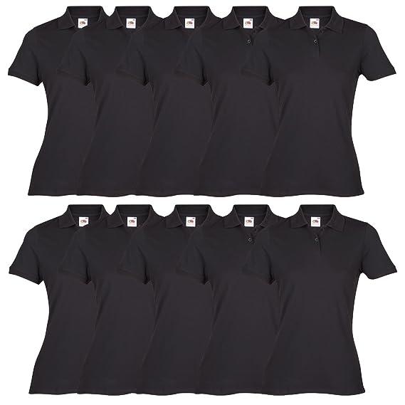 innovative design best shoes beauty Fruit of the Loom 10x Ladies Plain Black Polo Shirt Bundle ...