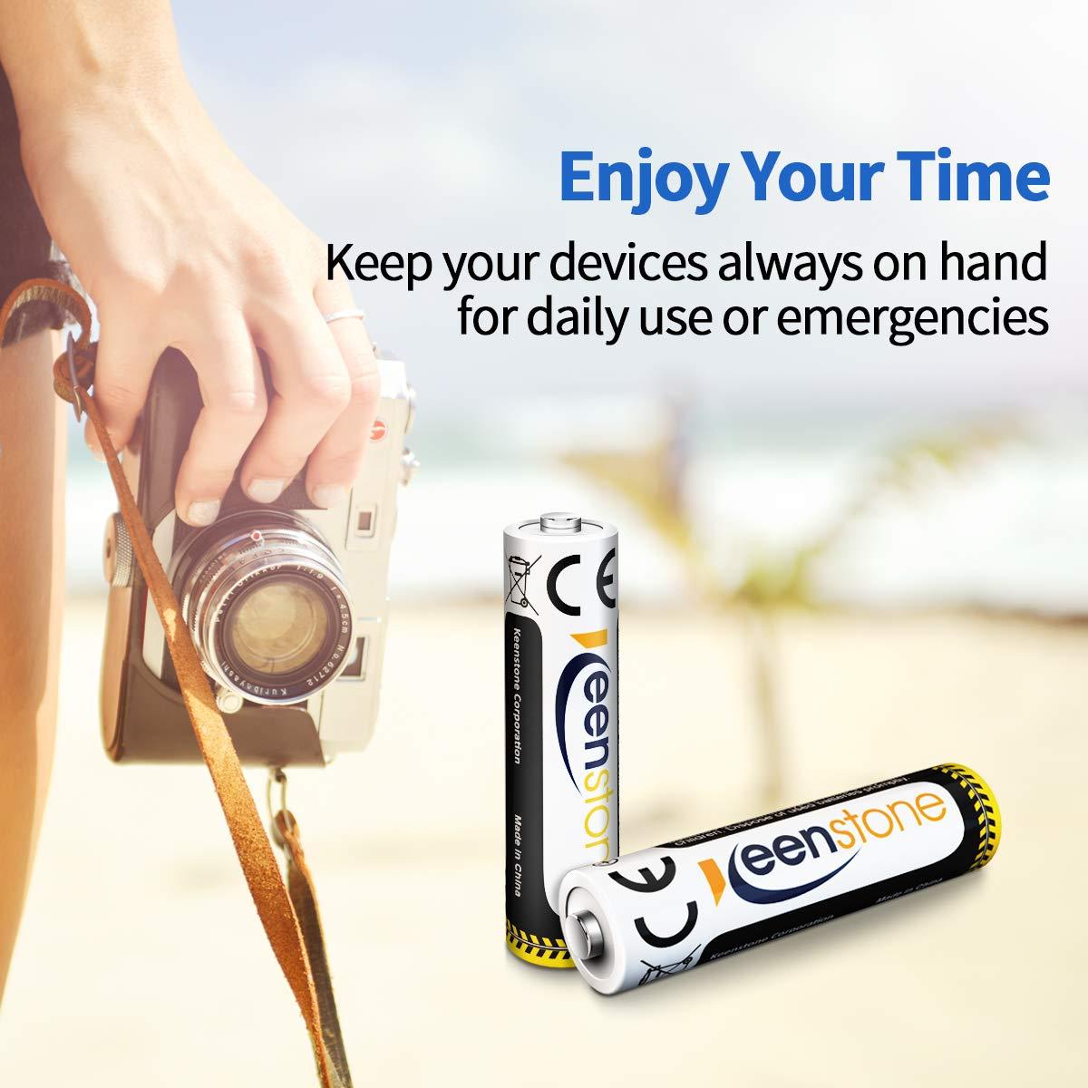 Keenstone AAA Akku Wiederaufladbar, 1.2V 1100mAh Micro AAA Batterien NiMHAkkus mit Ladegerät, geringe Selbstentladung, Ideal für DECT Telefon Kamera Fernbedienung Taschenlampe Controller, 8 Stücke