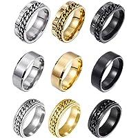 REVOLIA 9Pcs Stainless Steel Chain Spinner Rings for Men Women Cool Fidget Band Rings Wedding Pormise Ring Set 8MM Size…