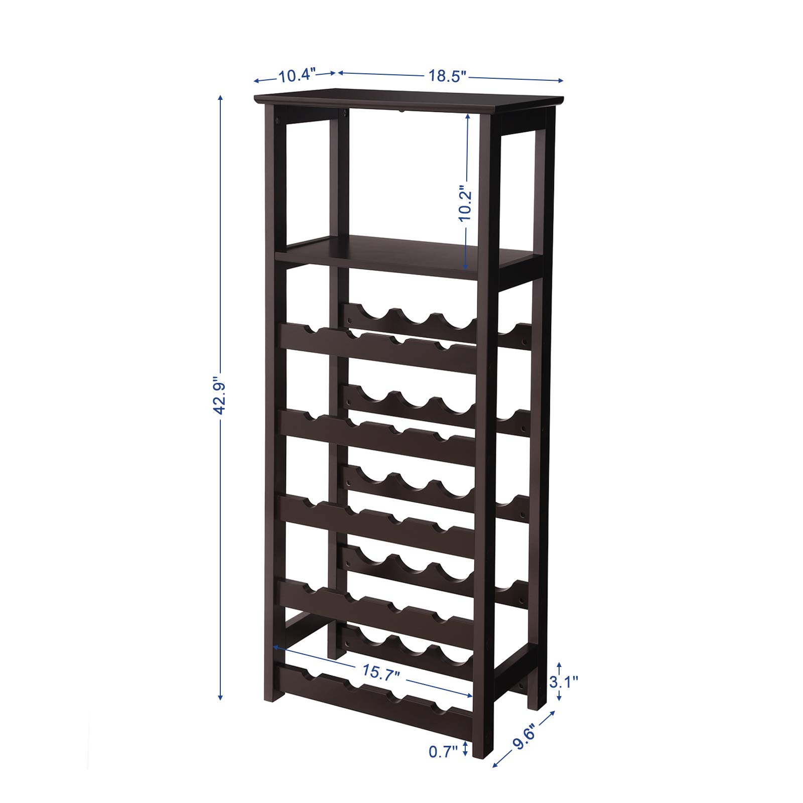 VASAGLE 20 Wooden Wine Rack, Free Standing Bottles Display Storage Shelf, with 2 Slatted Shelves,18.4''L × 10.4''W × 42.9''H, Espresso ULWR03BR by VASAGLE (Image #7)