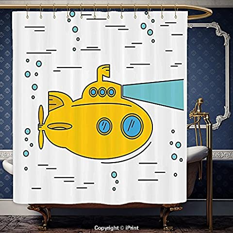 iPrint 72x72 Inch Shower Curtain Yellow Submarine Ocean Nautical Adventure Underwater with Bubbles Porthole Cartoon Kids Decor White Yellow Blue Polyester Bathroom Accessories Home - Seaside Dreams Panel Bed