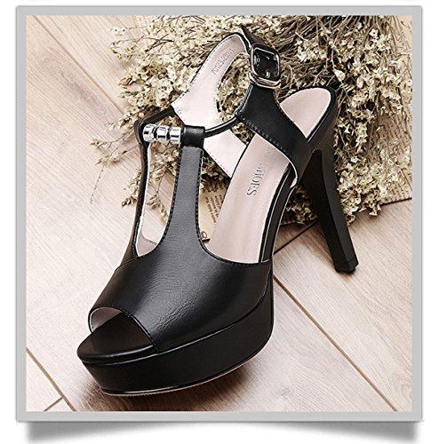 Haut Sexy Vide Unis Black pour de Côté Tête DKFJKI Sandales Europe Chaussures Coréenne Et Talon Version Poisson États Femmes C7PxTwU