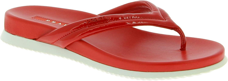 Prada Zapatos de Chanclas para Mujeres de Charol y Piel roja Brillante - Número de Modelo: 3Y6005 OYG F0011