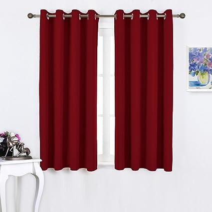 NICETOWN Burgundy Blackout Curtains Grommet   Thermal Insulated Solid  Grommet Blackout Curtains/Panels/Drapes