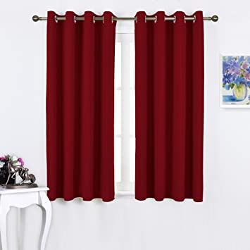 Red Curtains amazon red curtains : Amazon.com: Nicetown Thermal Insulated Solid Grommet Blackout ...