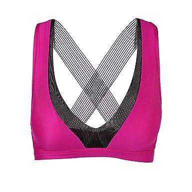 d1a64c4875c3 Yandam Women's Shockproof Sports Bra Short Vest Seamless Underwear at Amazon  Women's Clothing store: