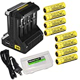 Nitecore Intellicharge i8 eight Bays universal battery charger, eight Nitecore 18650 NL189 Li-ion 3400mAh rechargeable batteries with 2 X EdisonBright BBX3 battery carry cases bundle