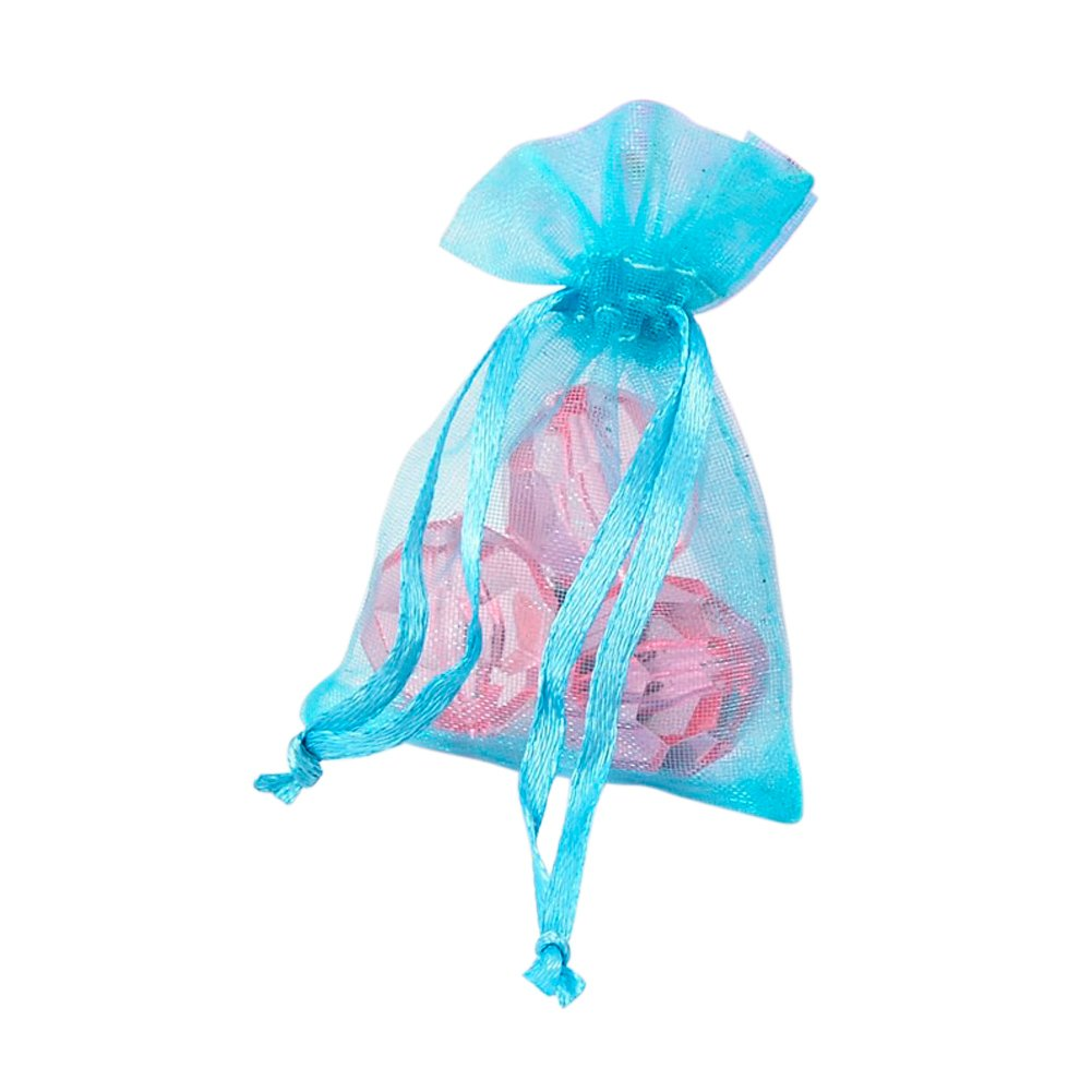 NBEADS 100 Pcs Organza Bags Wedding Favour Bags Jewelry Samples Display Pouches Gift Bags Drawstring, Cyan, 7x5cm