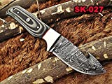 "New 8"" Long Skinning Knife, 4"" Full Tang Gut Hook Blade, Hand Forged"