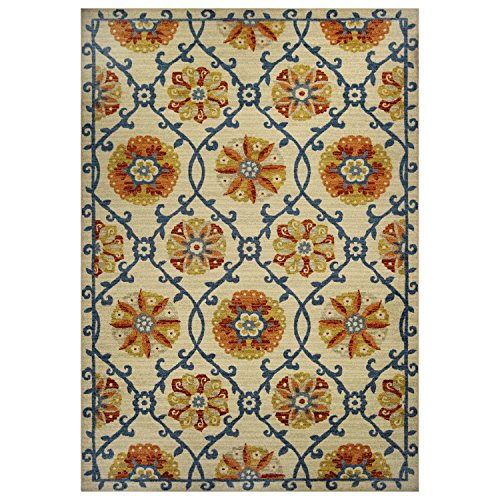 Area Rugs, Maples Rugs [Made in USA][Tricia Artwork Collection] 7' x 10' Non Slip Padded Large Rug for Living Room, Bedroom, and Dining Room by Maples Rugs