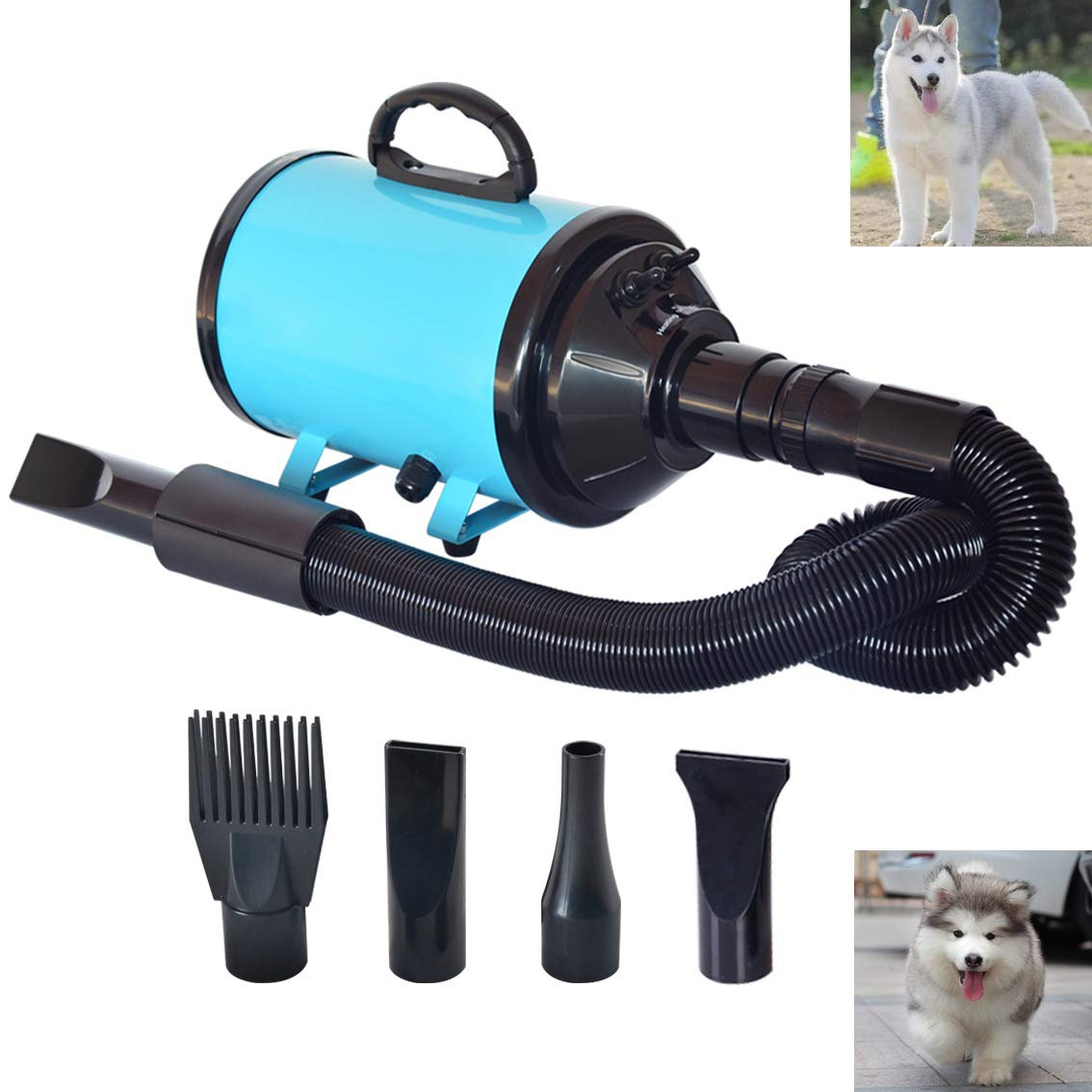C&W Dog Dryer Noise Reduction Pet Dryer with Heater Dog Blower 3.2HP Adjustable Speed and Temperature Spring Hose and 4 Different Nozzles Blue Color