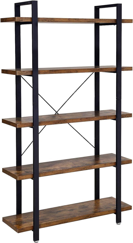 VASAGLE Bücherregal, stabiles Standregal mit 8 Regalebenen, Wohnzimmerregal  im Industrie-Design, einfacher Aufbau, Wohnzimmer, Schlafzimmer, Büro,