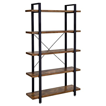 brand new dfcb0 d66e1 VASAGLE Bookshelf, 5-Layer Industrial Stable Bookcase, Storage Rack,  Standing Shelf, Easy Assembly, Living Room, Bedroom, Office, Rustic Brown  LLS55BX