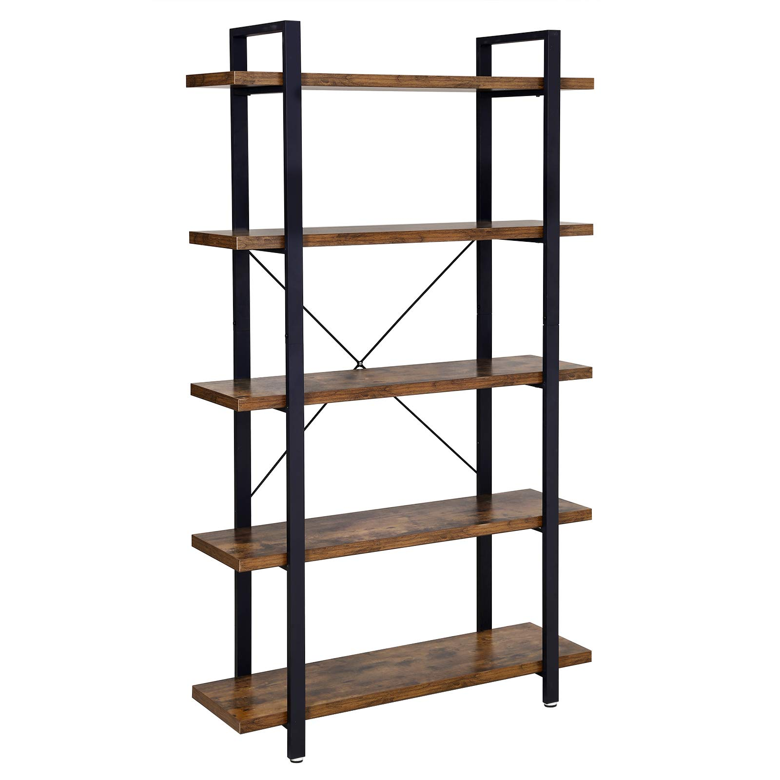 VASAGLE Bookshelf, 5-Tier Industrial Stable Bookcase, Storage Rack, Standing Shelf, Easy Assembly, Living Room, Bedroom, Office, Rustic Brown and Black LLS55BX