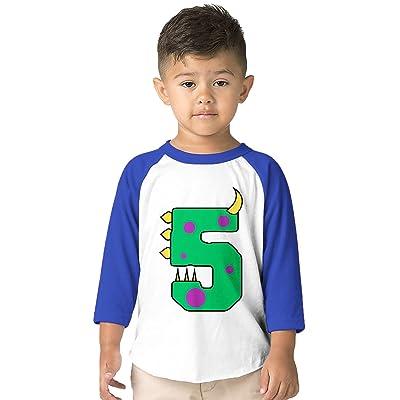 SpiritForged Apparel Birthday Dinosaur Number 5 Years Old Toddler 3 4 Raglan Shirt