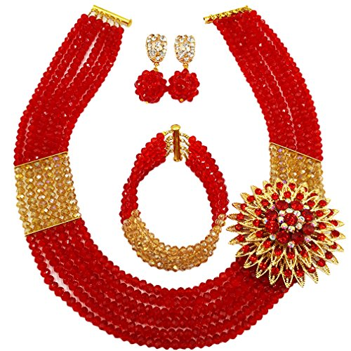 - aczuv Nigerian Wedding African Beads Jewelry Set Crystal Beaded Necklace Earrings (Red Gold AB)