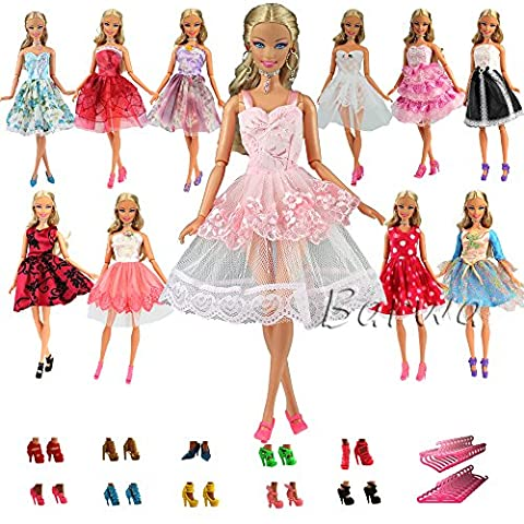 Barwa 5 PCS Fashion Mini Short Party Dresses Clothes + 5 Shoes + 5 Hanger for Barbie Doll Gift