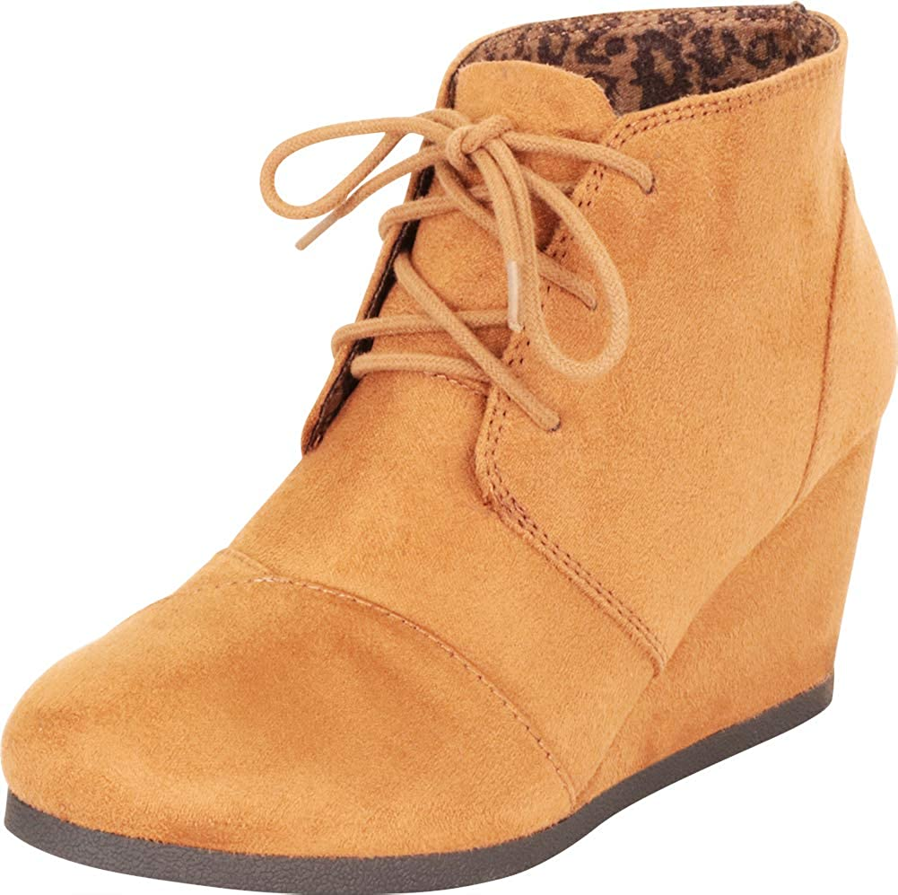 b2e66d874b166 Cambridge Select Women's Classic Round Toe Lace-Up Wrapped Wedge Oxford  Ankle Bootie