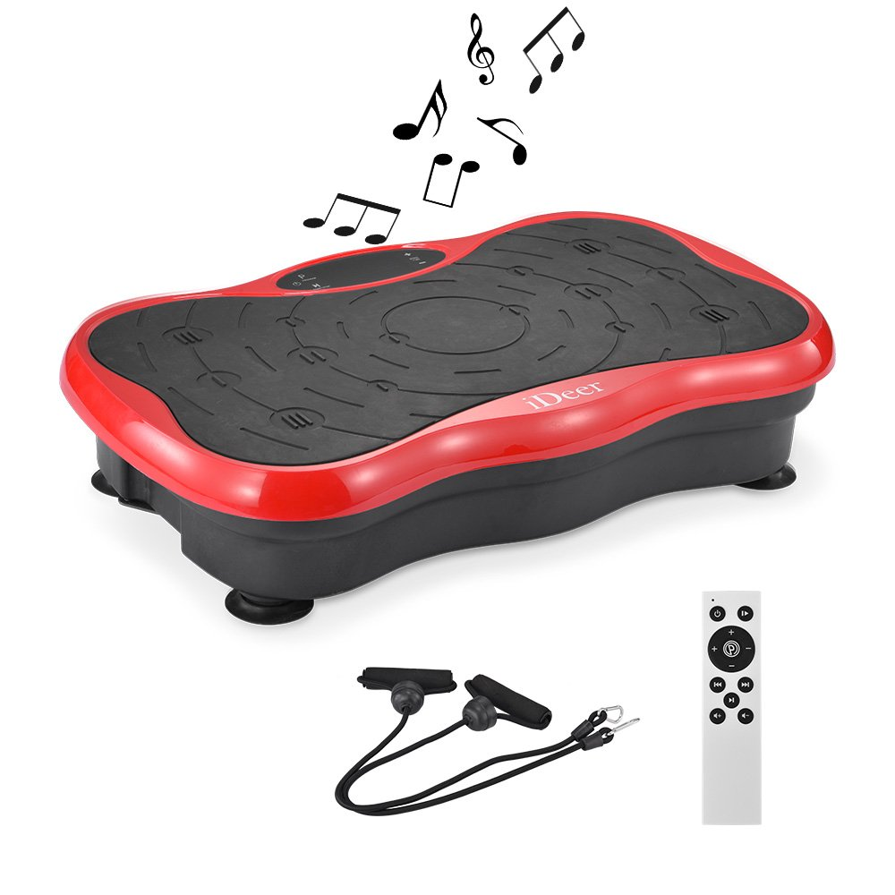 iDeer Vibration Platform Fitness Vibration Plates,Whole Body Vibration Exercise Machine w/Remote Control &Bands,Anti-Slip Fit Massage Workout Vibration Trainer Max User Weight 330lbs (Red09003)