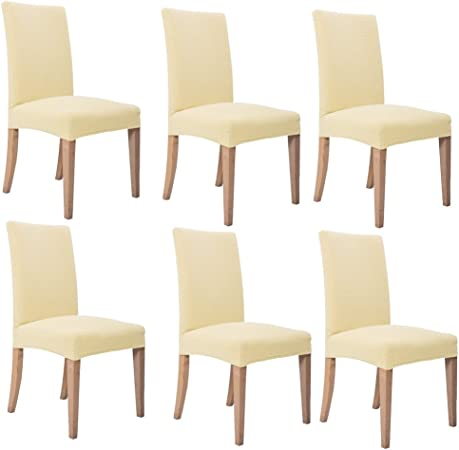 Inroy Fodere coprisedia Elastico copertura della sedia Fodere coprisedia per sala da pranzo Confezione da 6 (Beige)