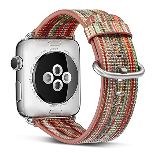 Compatible Apple Watch Band 38mm 40mm,Pierre Case Genuine Leather Strap Rainbow Replacement Bands with Stainless Metal Clasp Compatible iWatch Series 4 Series 3 2 1 Edition Women Men Girl (A)