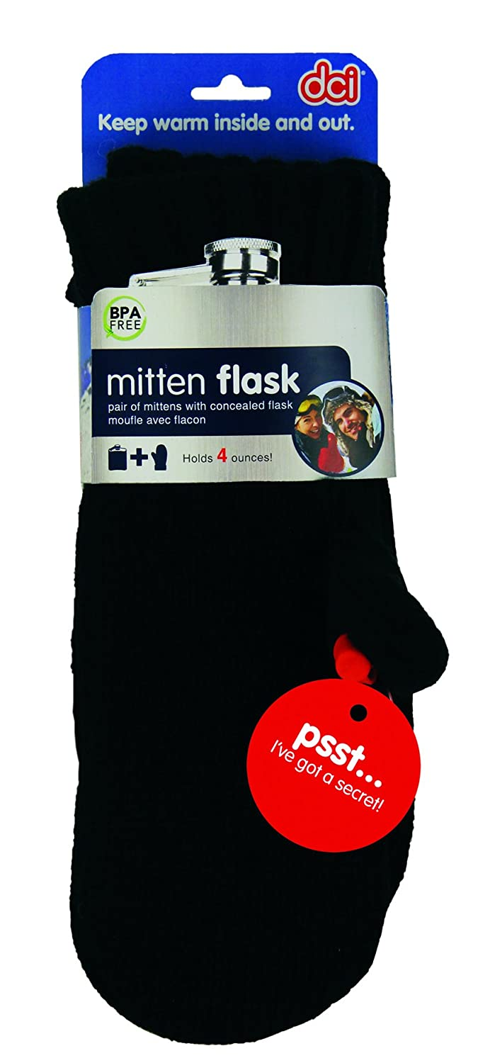 One Size Fits Most DCI Hidden Flask Mittens Black Pair One 4 fl oz Flask