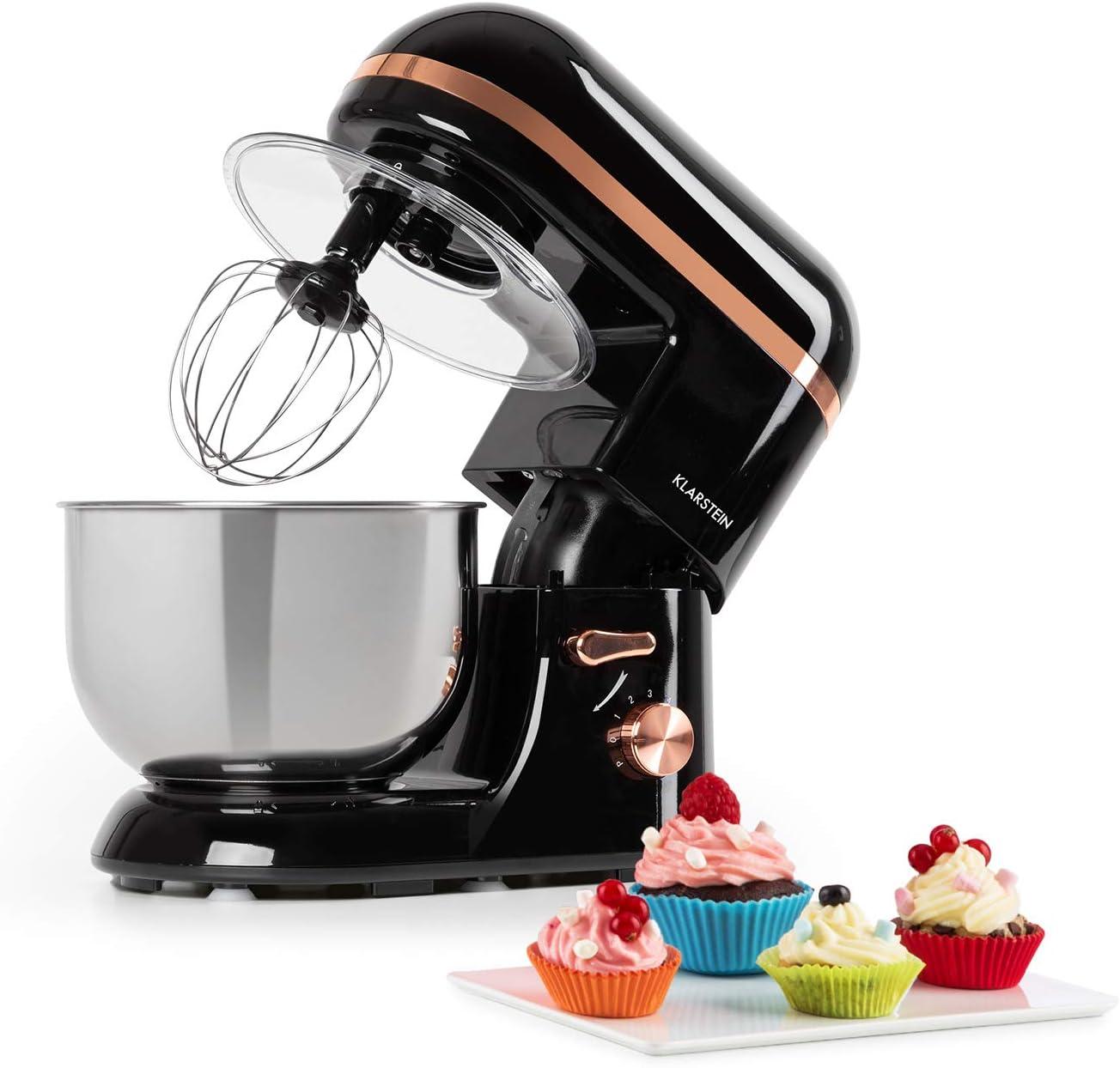 Klarstein Bella Elegance robot de cocina - 1300W/1,7PS en 6 niveles con función pulso, sistema de rotación planetario, cuenco de acero inoxidable de 5 l, 3 piezas de tono cobrizo, negro